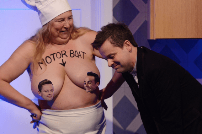 Motorboating a naked woman