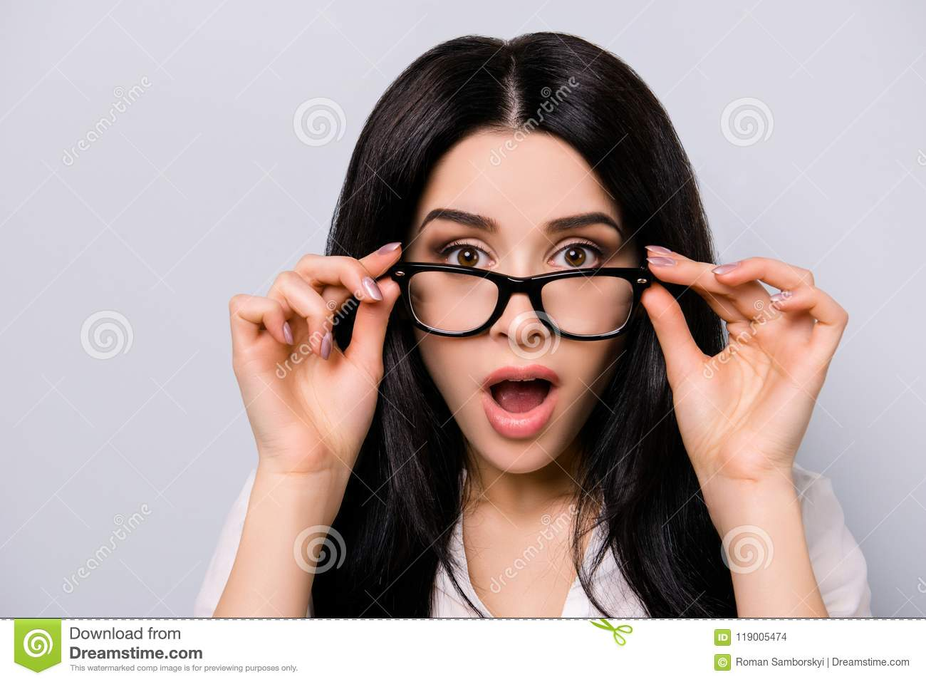 Pretty girl with glasses gets her