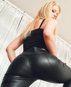 Seductive girls in tight leather pants